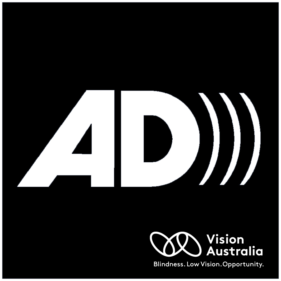 White capital Letters A and D on a black background. 3 sound waves arcing to the right from the curve of the letter D. Vision Australia logo in bottom right corner
