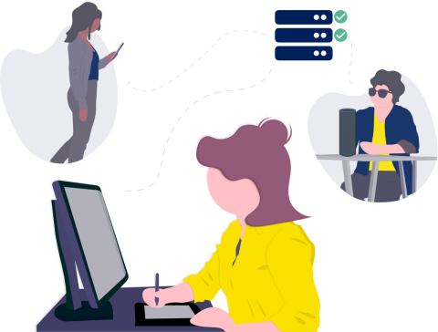 Cartoon person on phone, computer, and a third at a desk with a braille keyboard