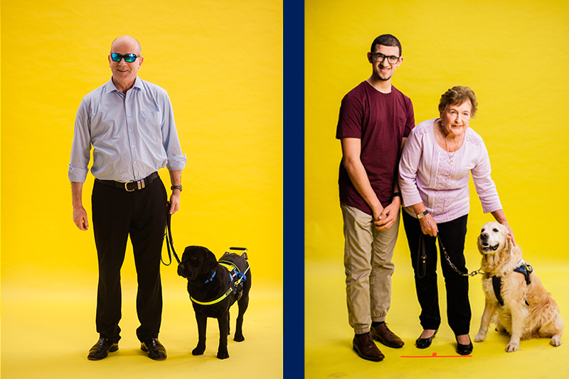 Clients with their Seeing Eye Dogs