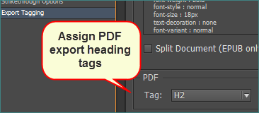 Assign PDF export heading tags from the PDF Tag dropdown.
